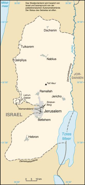 Westjordanland Palästina Karte