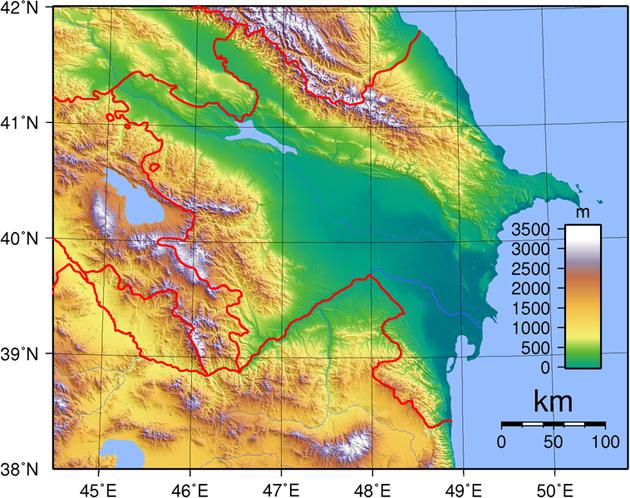 Aserbaidschan Landkarte