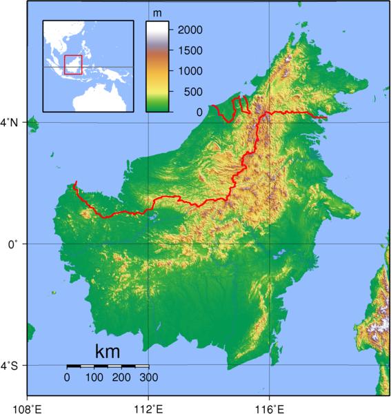 Borneo topographische Karte