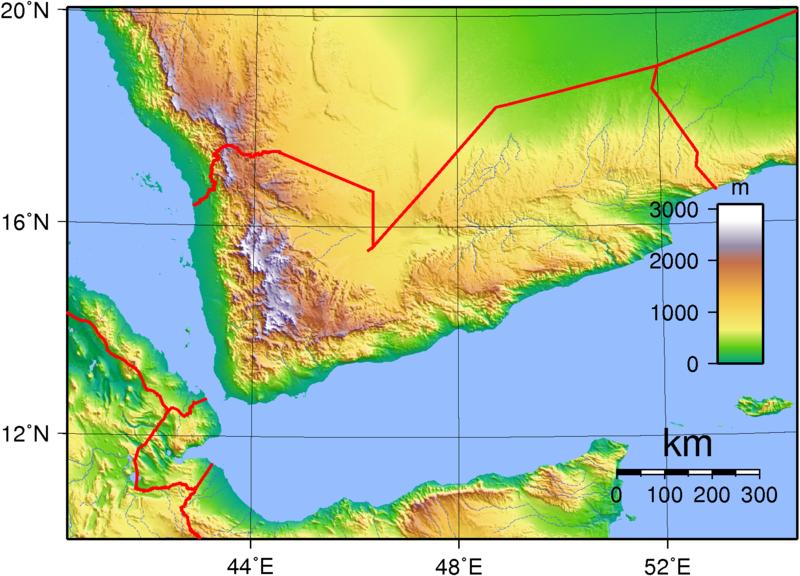 Topographische Karte Jemen