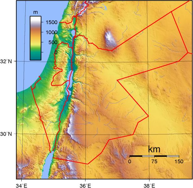 Jordanien Karte.Topographische Karte Jordanien