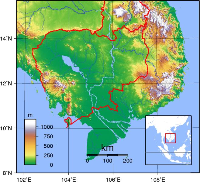 Kambodscha Karte.Topographische Karte Kambodscha