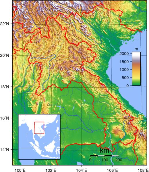 Laos Topographische Karte