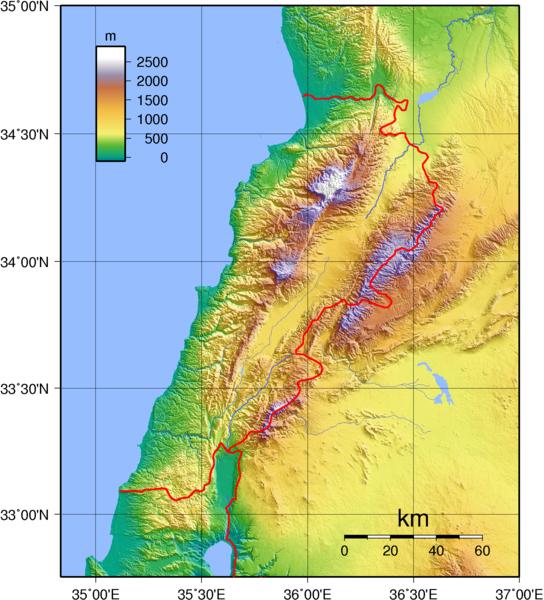 Libanon Topographische Karte