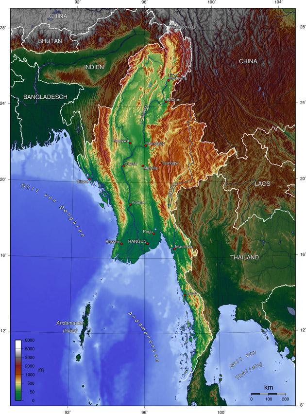 Myanmar Landkarte