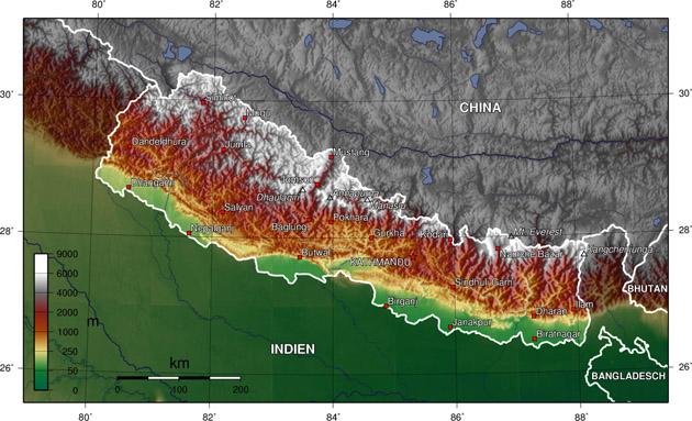 Nepal Landkarte