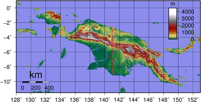 Neuguine topgraphische Landkarte