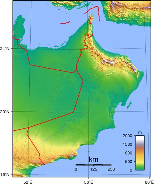 Karte Oman.Oman Topographische Karte