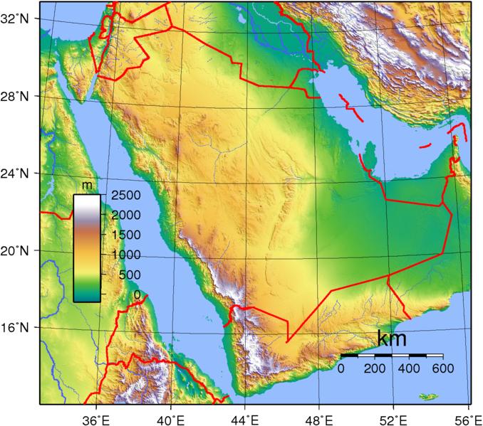Saudi-Arabien Landkarte Topographie