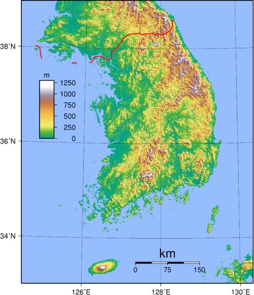 Südkorea Landkarte