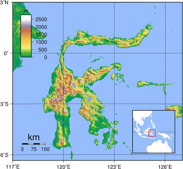 Sulawesi Landkarte