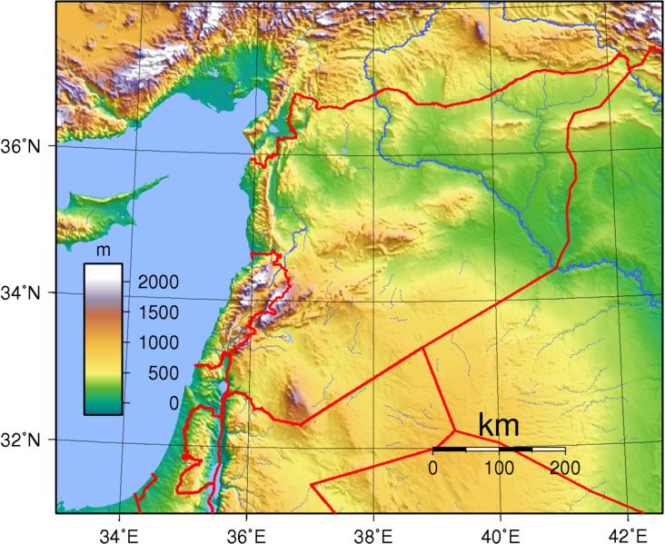 Karte Syrien.Syrien Topographische Karte