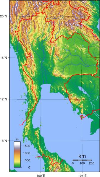 Topographische Karte Thailand