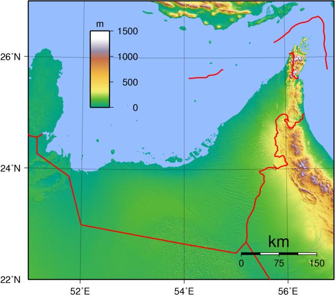 Topographische Karte Vereinigte Arabische Emirate