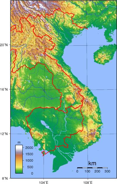Vietnam Topographische Karte