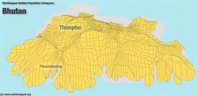Bhutan Bevölkerung Verteilung