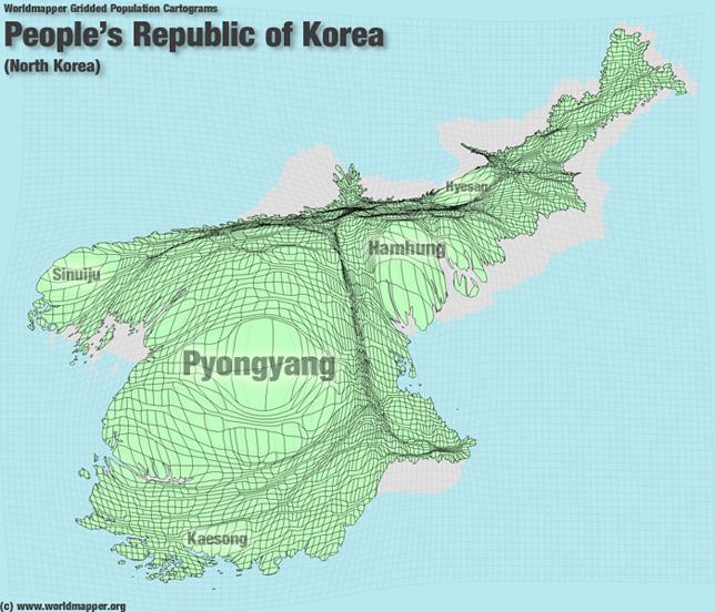 Nordkorea Bevölkerung Verteilung