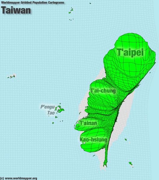 Taiwan Bevölkerung Verteilung