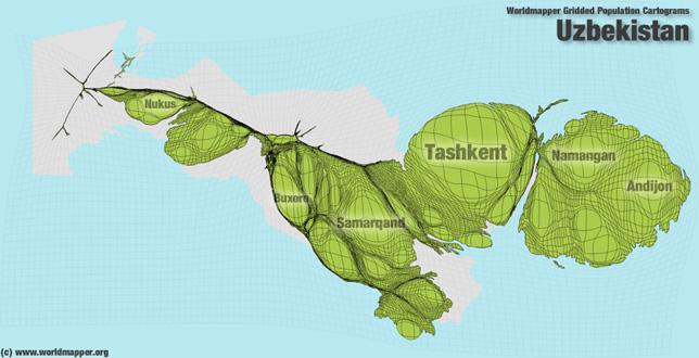 Usbekistan Bevölkerung Verteilung